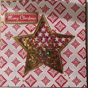 RÁZHATÓ (SHAKER) LAP KARÁCSONYRA - 1 db képeslap CSILLAG forma, Otthon & Lakás, Karácsony & Mikulás, Karácsonyi képeslap, Papírművészet, 1 db, 13,5*13,5 cm, négyzet alakú egyedi, saját készítésű kézműves képeslap, 1 db borítékkal.\nA kiha..., Meska