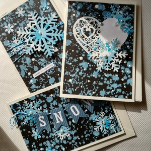 KARÁCSONY ÉJJEL - 3 db képeslap, Otthon & Lakás, Karácsony & Mikulás, Karácsonyi képeslap, Papírművészet, 3 db, 10,5*15 cm egyedi, saját készítésű kézműves képeslap, 3 db borítékkal.\nA kihajtható képeslapra..., Meska