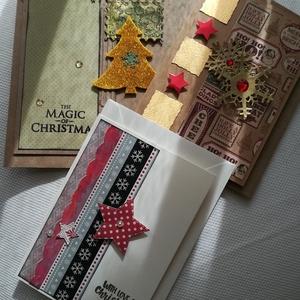 KARÁCSONYI CSILLOGÁS - 3 db képeslap, Otthon & Lakás, Karácsony & Mikulás, Karácsonyi képeslap, Papírművészet, A 3 db-os csomagban 2 db, 10,5*15 cm és 1 db az átlagosnál nagyobb méretű, négyzet alakú 15*15 cm eg..., Meska