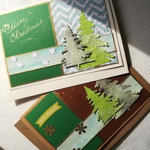 KARÁCSONYFA DUÓ - 2 db képeslap, Otthon & Lakás, Karácsony & Mikulás, Karácsonyi képeslap, Papírművészet, 2 db, 10,5*15 cm egyedi, saját készítésű kézműves képeslap, 2 db borítékkal.\nA kihajtható képeslapok..., Meska