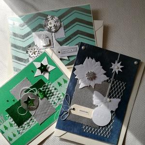 EZÜST - FEHÉR - ZÖLD KARÁCSONY - 3 db képeslap, Otthon & Lakás, Karácsony & Mikulás, Karácsonyi képeslap, Papírművészet, A 3 db-os csomagban 3 db, 10,5*15 cm egyedi, saját készítésű kézműves képeslap és 3 db boríték talál..., Meska