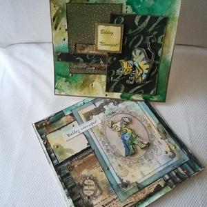 NÉVNAP: 1 KUTYA + 1 MACSKA = 2 db képeslap, Otthon & Lakás, Papír írószer, Képeslap & Levélpapír, Papírművészet, 2 db 13,5*13,5 cm, négyzet alakú egyedi, saját készítésű kézműves képeslap, 2 db borítékkal.\nA kihaj..., Meska