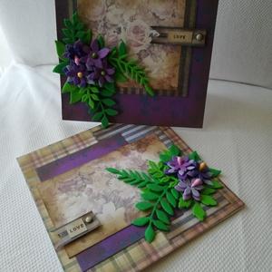 LOVE - SZERETETTEL - 2 db képeslap, Otthon & Lakás, Papír írószer, Képeslap & Levélpapír, Papírművészet, 2 db, 13,5*13,5 cm, négyzet alakú egyedi, saját készítésű kézműves képeslap, 2 db borítékkal.\nA kiha..., Meska