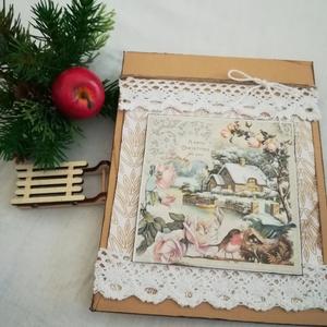 """KARÁCSONYI BORÍTÉKTASAK - ajándék- vagy pénzátadó papírtasak, Otthon & Lakás, Karácsony & Mikulás, Karácsonyi csomagolás, Papírművészet, 1 db, 14*17,5 cm egyedi, saját készítésű kézműves \""""borítéktasak\"""".\nA tasakba kb. 1 cm vastag ajándék ..., Meska"""