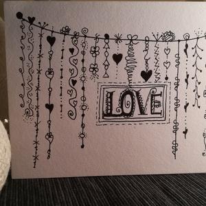 LOVE feketén- fehéren... - 1 db képeslap, Otthon & Lakás, Papír írószer, Képeslap & Levélpapír, Papírművészet, 1 db, a 10,5*15 cm egyedi, saját készítésű képeslap, 1 db borítékkal. A kihajtható képeslapra belül ..., Meska