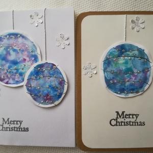 KÉK EZÜST GÖMBÖK - 2 db képeslap, Karácsony & Mikulás, Karácsonyi képeslap, Papírművészet, A csomagban 2 db, 10,5*15 cm egyedi, saját készítésű kézműves képeslap és 2 db boríték található. A ..., Meska