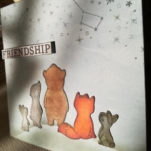 FRIENDSHIP - BARÁTSÁG - 1 db képeslap , Otthon & Lakás, Papír írószer, Képeslap & Levélpapír, Papírművészet, 1 db, az átlagosnál nagyobb méretű, 15*15 cm egyedi, saját készítésű kézműves képeslap, 1 db boríték..., Meska