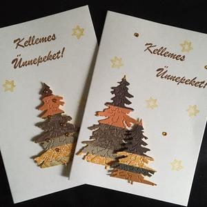 CSÍKOS KARÁCSONYFÁK - 2 db képeslap, Karácsony & Mikulás, Karácsonyi képeslap, Papírművészet, A csomagban 2 db képeslap található, hozzá illeszkedő 2 db borítékkal. Mindkettő 10,5*15 cm, egyedi,..., Meska