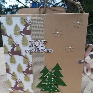 Album papír tasakokból karácsonyra, Otthon & Lakás, Papír írószer, Album & Fotóalbum, Papírművészet, A karácsonyi album összesen 6 papír tasakot tartalmaz, ebből egy a borító belsejére van rögzítve, 5 ..., Meska
