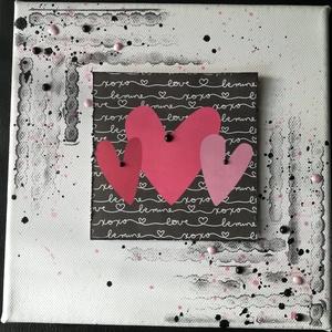 Love, LOVE, Love - vászonkép, Otthon & Lakás, Dekoráció, Kép & Falikép, Festett tárgyak, 20*20 cm-es vászonkép\nKreatív technikákkal (mixed media) készült: szilikon nyomdával, tintával nyomd..., Meska