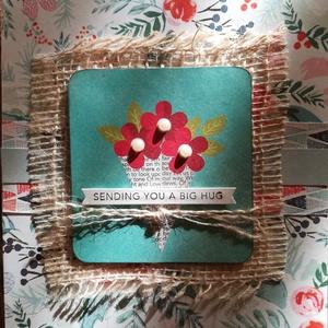"""BORÍTÉKTASAK \""""BIG HUG\"""" - ajándékátadó papírtasak, Otthon & Lakás, Papír írószer, Ajándékkísérő, Papírművészet, 1 db, 14*17,5 cm egyedi, saját készítésű kézműves \""""borítéktasak\"""". \n\nA tasakot virág mintás kartonból..., Meska"""