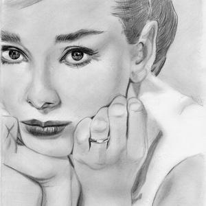 Audrey grafika, Művészet, Portré & Karikatúra, Portré, Fotó, grafika, rajz, illusztráció, Papírművészet, Meska