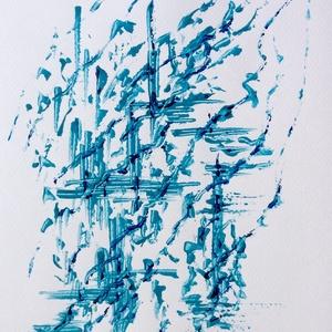 """""""Esőcseppek""""- festmény, Művészet, Akril, Festmény, 24x32  cm-es akril festmény.  Ecsettel és festőkéssel készült. Eredeti, egyedi festmény, adott pilla..., Meska"""
