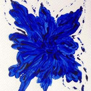 """""""Kék nefelejcs""""- festmény, Művészet, Akril, Festmény, 10,5x15 cm-es akril festmény.  Ecsettel és festőkéssel készült. Eredeti, egyedi festmény, adott pill..., Meska"""