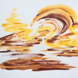 Napfény játszik a homokban.- festmény, Képzőművészet, Otthon & lakás, Festmény, Dekoráció, Lakberendezés, Festészet, 24x32  cm-es akril festmény.\n\nEcsettel és festőkéssel készült.\nEredeti, egyedi festmény, adott pilla..., Meska