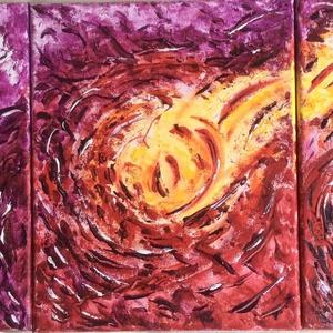 A fény átmelegít-3 db-os festmény, Képzőművészet, Otthon & lakás, Festmény, Dekoráció, Lakberendezés, Festészet, 72x30 cm-es 3 db-ból álló vászon akril festmény.\n\nA kép 3 db 24x30 cm-es képből áll. A 3 kép egyszer..., Meska