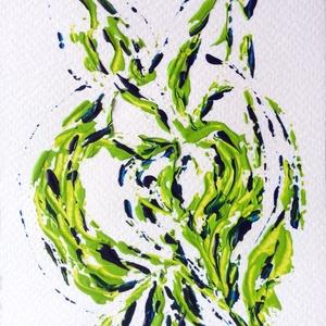 Zöld és kék játéka- festmény, Képzőművészet, Otthon & lakás, Festmény, Dekoráció, Lakberendezés, Festészet, 10,5x15  cm-es akril festmény.\n\nEcsettel és festőkéssel készült.\nEredeti, egyedi festmény, adott pil..., Meska