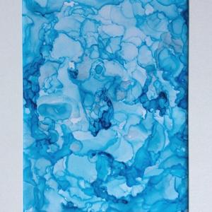 """Kék - festmény, Festmény vegyes technika, Festmény, Művészet, Festészet, 21,5x27,5 cm-es  """"média ink"""" festmény.\n\nAlkoholos tintával IKEA-s keret fedő-lapjára festett kép.\nEz..., Meska"""