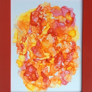 """""""Narancs-liget""""- festmény, Otthon & lakás, Képzőművészet, Festmény, Festmény vegyes technika, Dekoráció, Kép, Lakberendezés, Falikép, Festészet, 21,5x27,5 cm-es  """"média ink"""" festmény.\n\nAlkoholos tintával IKEA-s keret fedő plexi-lapjára festett k..., Meska"""
