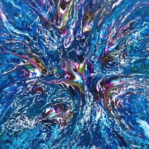 """""""Tenger-mélyén"""" festmény, Otthon & lakás, Dekoráció, Kép, Lakberendezés, Falikép, Képzőművészet, Festmény, Akril, Festészet, 30x40 cm-es akril vászon festmény.\n\nFluid technikával és festőkéssel készült.\nA technikából adódóan ..., Meska"""