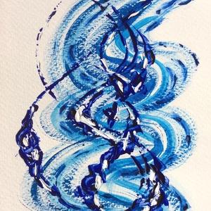 """""""Láncolat""""- festmény, Otthon & lakás, Képzőművészet, Festmény, Akril, Lakberendezés, Falikép, Dekoráció, Kép, Festészet, 11x15  cm-es akril festmény.\n\nEcsettel és festőkéssel készült.\nEredeti, egyedi festmény, adott pilla..., Meska"""