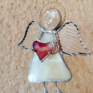Szívecskés tiffany angyalkák többféle színben, Otthon & lakás, Dekoráció, Ünnepi dekoráció, Karácsony, Karácsonyi dekoráció, Karácsonyfadísz, Üvegművészet, Tiffany technikával készített egyedi üveg angyalkák ajándéknak, ablak- vagy lakásdísznek.\nPiros üveg..., Meska