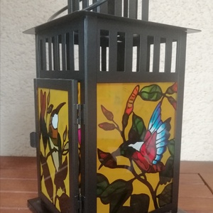 Kolibri motívumos üvegfestett lámpa (krisztin75) - Meska.hu
