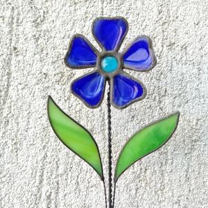 Tiffany kék margaréta olvasztott szirmokkal, Otthon & lakás, Dekoráció, Dísz, Ünnepi dekoráció, Anyák napja, Húsvéti díszek, Üvegművészet, Tiffany technikával készített díszüveg 3D virág, a szirmok fusing technikával olvasztottak minőségi ..., Meska
