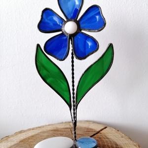 3D-s üveg margaréta (kék) - otthon & lakás - dekoráció - asztaldísz - Meska.hu