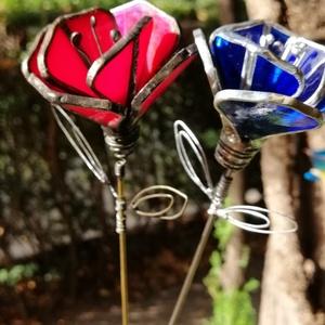 Tiffany technikával készített üveg pipacs irizáló piros , Otthon & Lakás, Csokor & Virágdísz, Dekoráció, Üvegművészet, Meska