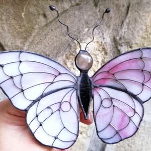 Mályvás-rózsaszín  Tiffany pillangó, Otthon & Lakás, Dekoráció, Ablakdísz, Üvegművészet, Meska