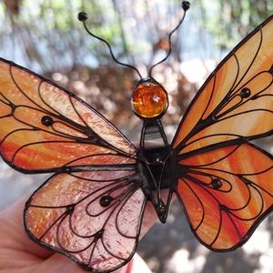 Nararancspiros szárnyú Tiffany technikával készített pillangó - Meska.hu