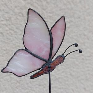 Tiffany pillangó virágok közé (kék, rózsaszín), Otthon & Lakás, Dekoráció, Váza, Üvegművészet, Meska