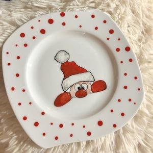 Kézzel festett tányér Mikulásra, Egyéb, Festett tárgyak, Kerámia, Kézzel festett tányér\nA festék mosogatógép álló.\nMindennapi használat során ,evőeszközök koptathatjá..., Meska