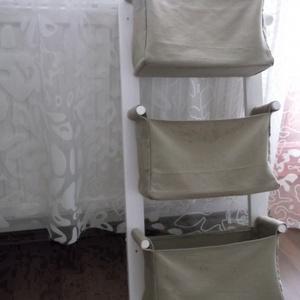 Fali tároló   3 rekeszes   Fehér pácolással   Beige színű rekeszekkel (OdorsHome) - Meska.hu