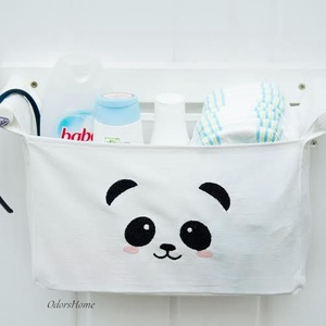 Fali tároló 1 rekeszes Hófehér lenvászon hímzett panda mintával (OdorsHome) - Meska.hu