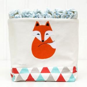Textil tároló, hímzett róka mintával, vidám színekben (OdorsHome) - Meska.hu