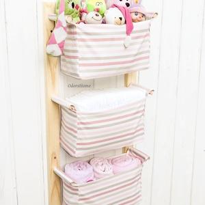 Gyerekszobai tároló - Kislányoknak - Falra szerelhető textil tartó - Játék tárolás, pelenka tartó, babaszobai tárolás, Otthon & Lakás, Játéktároló, Tárolás & Rendszerezés, Gyerekszobai tároló - Kislányoknak - Falra szerelhető textil tartó - Játék tárolás, pelenka tartó, b..., Meska