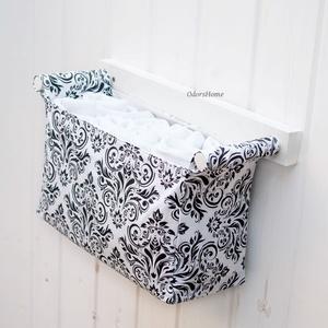 Textil tároló PRÉMIUM - Falra szerelhető - Gyönyörű designer tároló otthonodba - monokróm, damaszk mintás, modern (OdorsHome) - Meska.hu