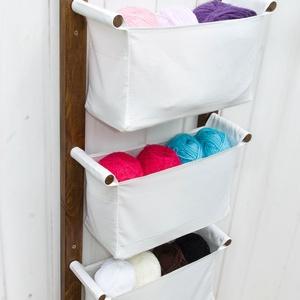 LEN kollekció Fali tároló hófehér textil zsákokkal - gyerekszobai tároló, előszobai tároló - svéd design, unisex tároló, Otthon & lakás, Bútor, Lakberendezés, Tárolóeszköz, Letisztult skandináv design, praktikus tároló, mellyel helyet szabadíthatsz fel a földön.  Szereld a..., Meska