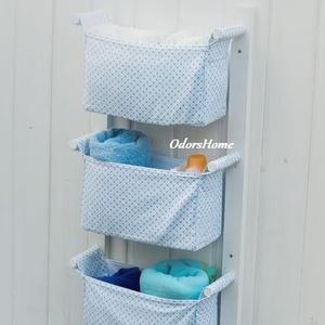 Textil tároló PRÉMIUM - Falra szerelhető - Gyönyörű designer tároló otthonodba - Előszobai, fürdőszobai tárolásra, Otthon & Lakás, Tárolás & Rendszerezés, Fali tároló, Famegmunkálás, Varrás, Ez egy jól kihasználható, falra szerelhető fali tároló fenyő, valamint csodaszép, designer pamut any..., Meska