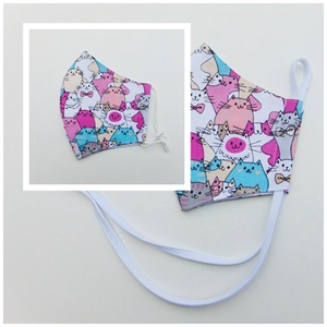 Gyermek- maszk / Színes cica mintás szájmaszk, textil szájmaszk, többször használható szájmaszk - maszk, arcmaszk - gyerek - Meska.hu