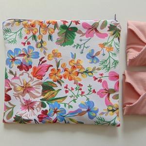 Mosható betét tartó tasak - színes virág mintás/ betét tárolás, neszeszer, , Szépségápolás, Intim higiénia, Egészségügyi tartó, Varrás, Meska