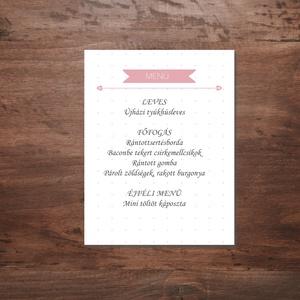 Rózsaszín virágos romantikus esküvői menükártya, Esküvő, Menü, Meghívó & Kártya, Fotó, grafika, rajz, illusztráció, Meska