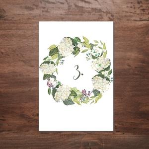 Zöld-fehér virágos asztalszám, Esküvő, Ültetési rend, Meghívó & Kártya, Fotó, grafika, rajz, illusztráció, Meska