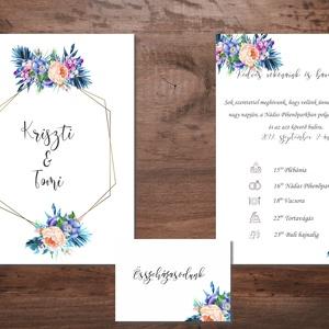 Geometrikus kék virágos meghívó szett, Esküvő, Meghívó, Meghívó & Kártya, Fotó, grafika, rajz, illusztráció, Meska