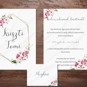 Geometrikus, rózsaszín virágos esküvői meghívó szett, Esküvő, Meghívó, Meghívó & Kártya, Fotó, grafika, rajz, illusztráció, Meska