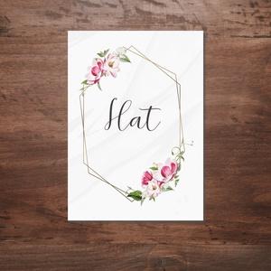 Geometrikus, rózsaszín virágos asztalszám, Esküvő, Ültetési rend, Meghívó & Kártya, Fotó, grafika, rajz, illusztráció, Meska