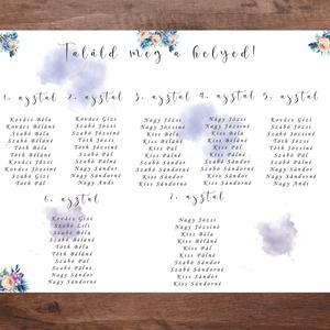 Kék virágos ültetőtábla, ültetési rend esküvőre, Esküvő, Ültetési rend, Meghívó & Kártya, Fotó, grafika, rajz, illusztráció, Papírművészet, Meska