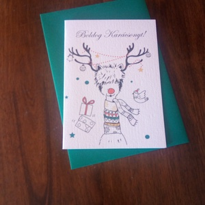 Vicces rénszarvasos karácsonyi képeslap, ajándék, Karácsonyi képeslap, Karácsony & Mikulás, Otthon & Lakás, Papírművészet, Vicces rénszarvasos karácsonyi képeslap.\n\nMérete B6, borítékkal együtt egy csomag.\n\nA grafikai terve..., Meska